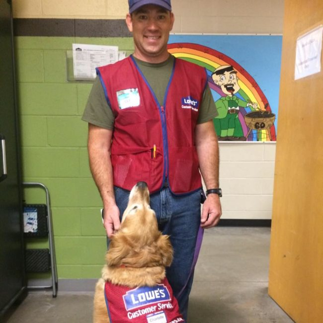 """The store's human resource manager, Jay Fellers, told <a href=""""https://www.thedodo.com/store-hires-service-dog-2129882036.html"""" target=""""_blank"""">The Dodo</a>, """"We didn't realize he was having a difficult time finding a job. He applied here and went through a normal interview process, and brought Charlotte in as part of the interview. He told us about Charlotte, and how she supports him. He ended up being our top candidate."""""""