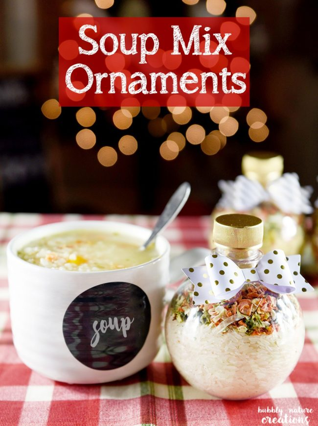 "Warm their heart (and their stomach) with these decorative <a href=""http://sprinklesomefun.com/2015/11/soup-mix-ornaments.html"" target=""_blank"">soup mix ornaments</a>."