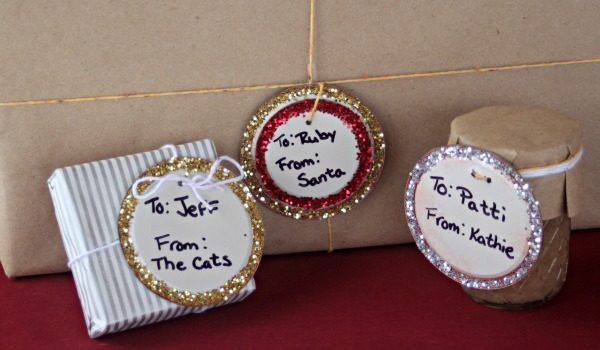 Upcycle lids from canned goods into glittery gift tags.