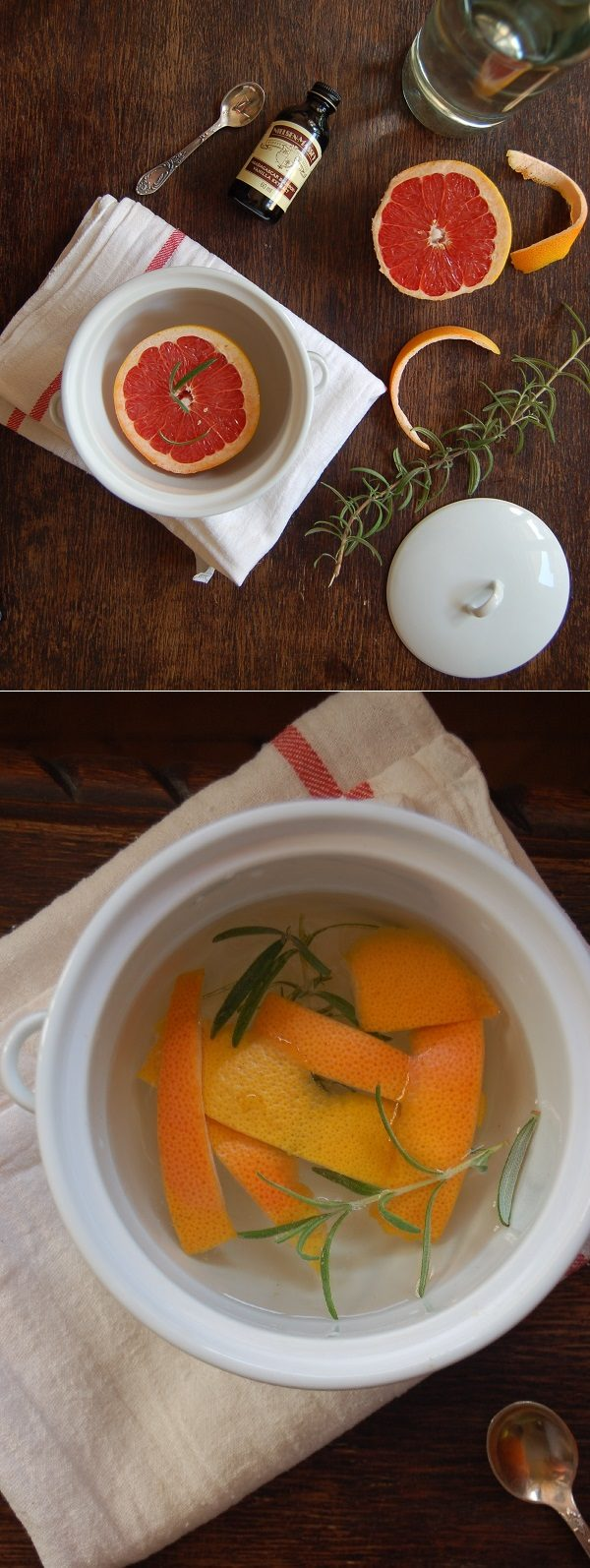"Grapefruit might not be what you'd think of when making potpourri, but this <a href=""http://diana212m.blogspot.com/2014/10/the-perfect-early-fall-simmering.html"" target=""_blank"">simple recipe</a> is proof that just about any fruit can leave your home smelling wonderful."