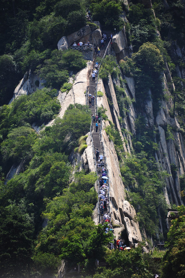 Each peak of Mount Hua has a variety of pathways that lead visitors up the mountain. Many of the trails have been deemed too dangerous because of their narrowing pathways. A cable car system made ascension easier in the 1990s, but many brave tourists still climb the mountain by foot.
