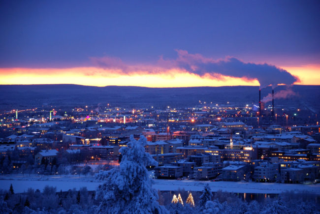 City lights make Lapland even more beautiful as the sun goes down.