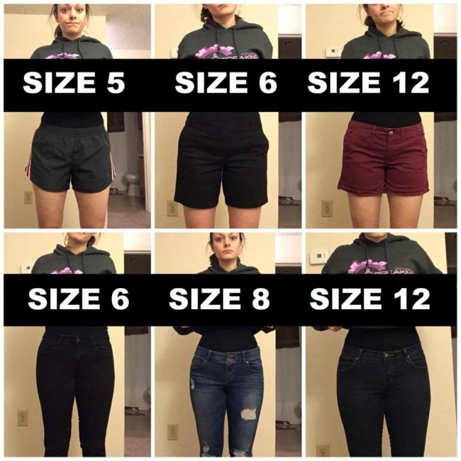 """&ldquo;I remembered all the times I&rsquo;ve heard girls say they&rsquo;re &lsquo;fat&rsquo; because they went up a pant size, or talked about all the diets they&rsquo;ve been on,&rdquo; Shoemaker told <a href=""""http://www.huffingtonpost.com/entry/woman-poses-in-varying-pants-sizes-to-make-a-point-about-body-image_us_5851f65ce4b0732b82feec30?"""" target=""""_blank"""">The Huffington Post</a>."""