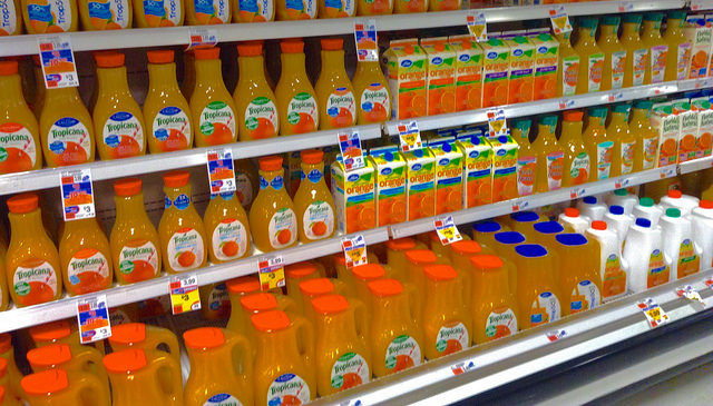 "That gallon of OJ in your fridge is actually <a href=""http://gizmodo.com/5825909/orange-juice-is-artificially-flavored-to-taste-like-oranges"" target=""_blank"">artificially flavored</a>."