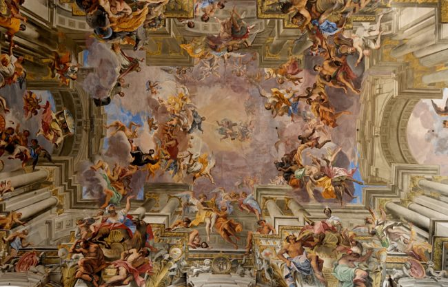 Pozzo painted scenes based on the triumphs of the saint for whom the church is named, Ignazio.
