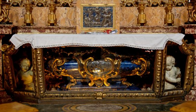 Pozzo was so successful that they allowed him to paint and design the rest of the church, too. This ornate tomb is just one example of his opulent work.