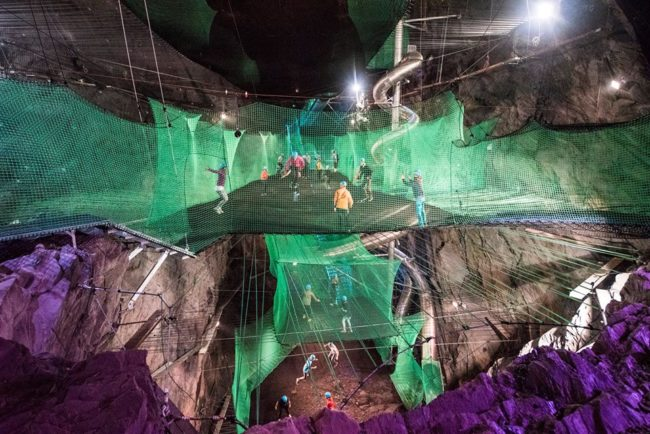 "<a href=""https://www.zipworld.co.uk/adventure/detail/bounce-below"" target=""_blank"">Bounce Below</a> is an underground trampoline park situated in an abandoned mine in Llechwedd Slate Caverns."